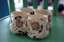 Service à café 4 tasses et 4 soucoupes / Faïence opaque / Sarreguemines