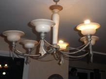 lustre en pâte de verre fer forgé 6 lampes