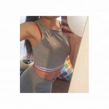 Crop top Bershka athletic style gris neuf