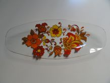 Plat en verre motifs à fleurs très seventies