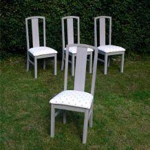 Lot de 4 chaises de salle à manger, cuisine, chambre, bois et tissu