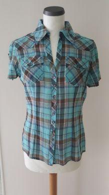 Chemise bleue à carreaux Promod
