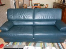 canapé cuir de buffle bleu
