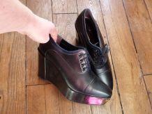 Chaussures Compensées En Cuir Noir À Lacets- Pointure 5 1/2- Robert Clergerie