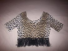 Caraco court léopard à franges 90'