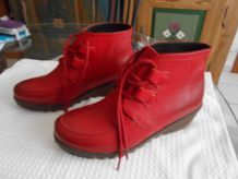 bottines cuir rouge