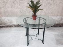 Table ronde en verre et fer forgé