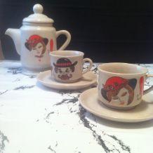 """Service à café """"Monsieur & Madame """" en grès"""