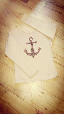 Pull Anchor beige avec motif ancre / dentelle ethinque