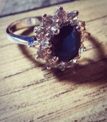 Bague argent diamant saphir bleu authentique avec certificat et garantie