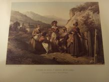 "LITHOGRAPHIE ""COSTUMES DU BOURG SAINT MAURICE"""