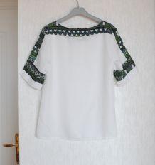 T-shirt blanc imprimé géométrique vert - Taille L