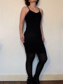 Robe Noire Avec Ses Bretelles Dorées - Taille 36- Mim