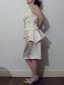 Robe De Soirée Écru Avec Bretelle - Taille 40 - Kenzel