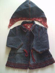 Manteau à capuche en jean bébé fille 6 mois