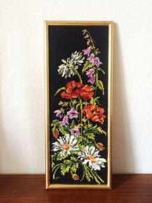 Cadre vintage canevas fleurs