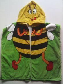 Poncho à capuche abeille éponge velours  taille 60 /120