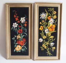 canevas de fleurs vintage encadrés