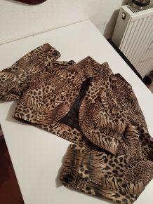 Veste courte ouverte imprimé léopard