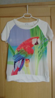 T-Shirt large perroquet