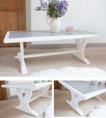 Table basse carrelage et bois