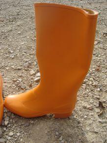 rare bottes de pluie orange vintage 36 années 70