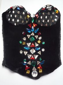 Bustier velours strass colorés.T small