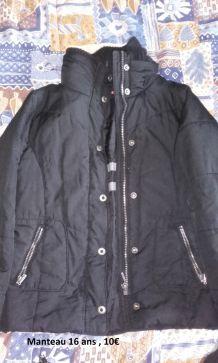Manteau Noir T. 16ans
