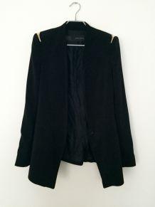 Veste blazer noire Zara épaulettes détail doré