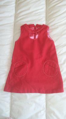 Robe rouge velours DPAM 18 mois