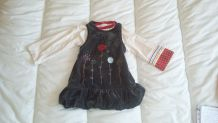 Robe sans manches + tee shirt Sucre d'orge 18 mois
