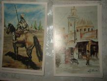 12 cartes postales impressionnistes,orientalistes,aquarelles,huile.