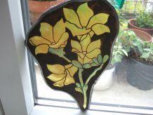Petit vitrail fleurs jaunes