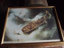 tableau très ancien d'un naufrage