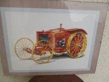 jolie gravure de tracteur ancien
