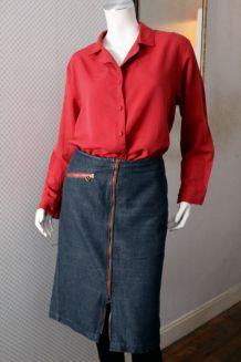 Jupe droite zippée jean bleu COP-COPINE 38