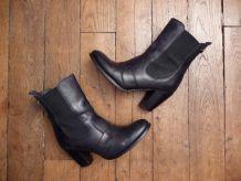 Bottines / Boots À Talon En Cuir Noir- Pointure 36 Italien - Golden Rose