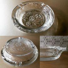 Cendrier en verre gravé fleurs Vintage