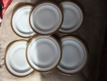 Assiettes X6 Porcelaine Limoges Incrustation Or