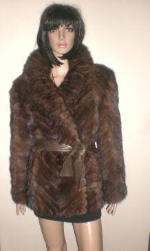 Veste manteau vison marron brun d'élevage véritable Anaf Vintage com Neuf