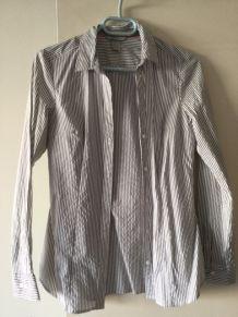 Chemise rayée blanche et grise - Taille 38.