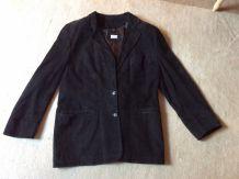 Veste en daim noir italienne pour femme (taille 44)