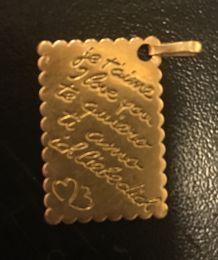 """Pendentif plaqué or """"je t'aime"""""""