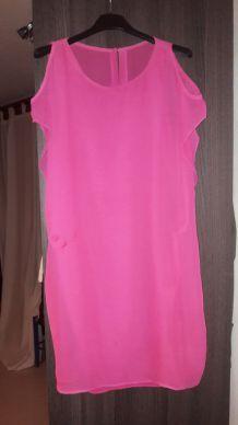 Robe rose voile habillée