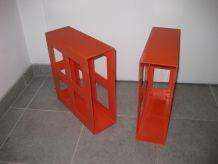 Etagères casiers plastique orange pour vinyles - vintage années 70