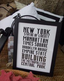 cadre déco ou tableau noir et blanc new york