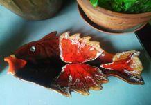 Céramique style Vallauris en forme de poisson