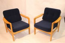 Paire de fauteuils Scandinave années  60, tissu velours marine