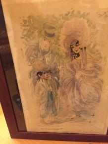 Tableau aquarelle et encre