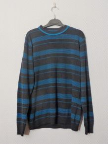 Pull Gris Avec Rayures Horizontales Bleues Turquoises - Taille M - Azar Men
